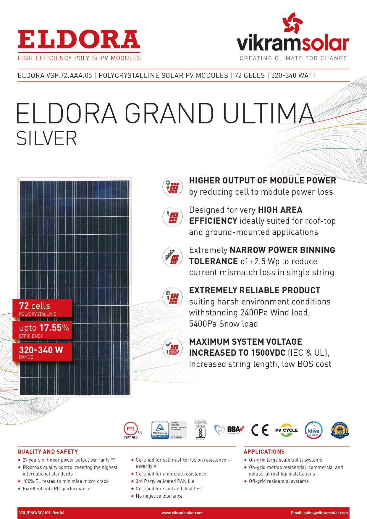 Eldora Grand Ultima Silver 72 Cell Pv Module Eldora Grand Ultima Silver Polycrystalline