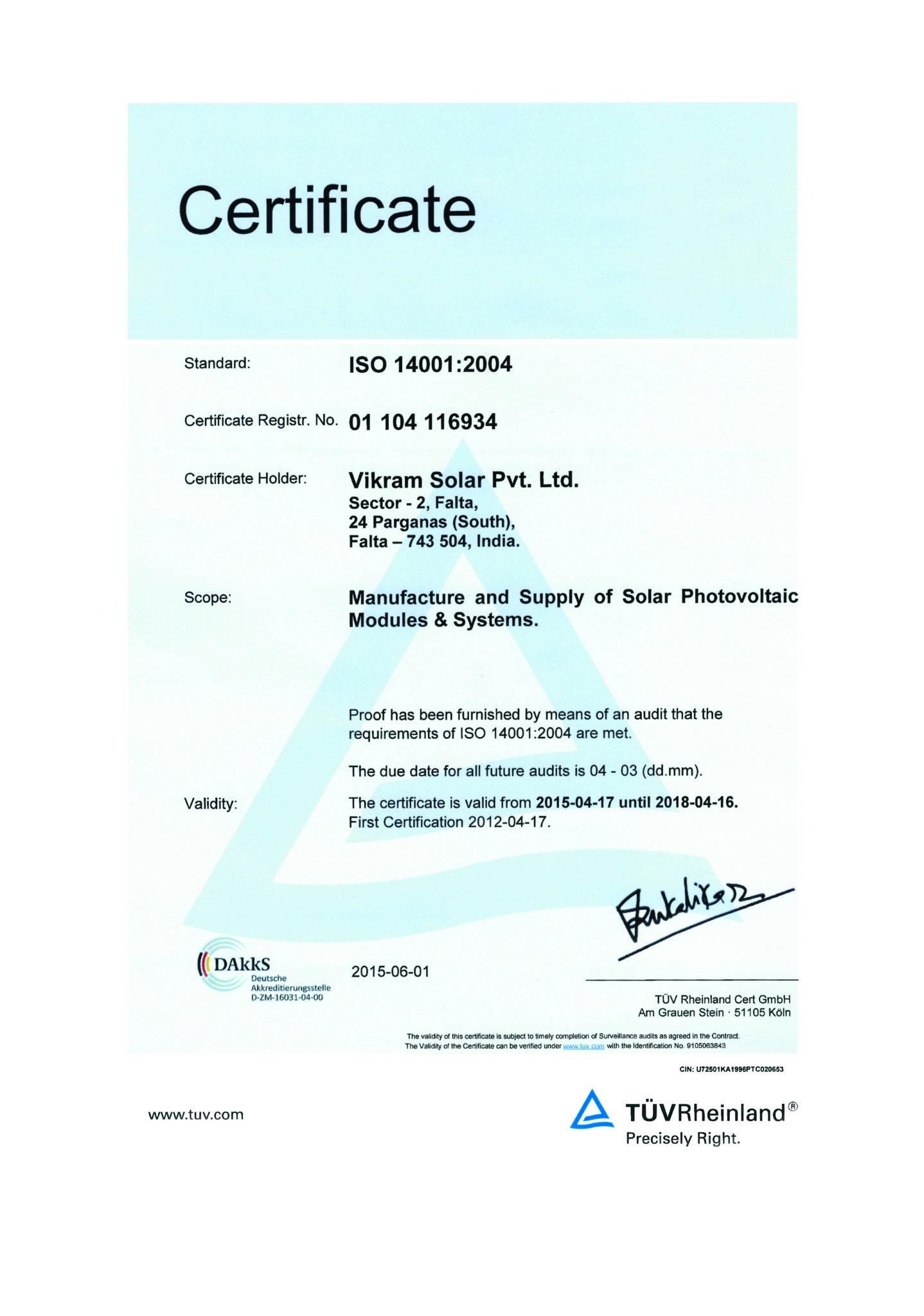 Certifications Vikram Solar